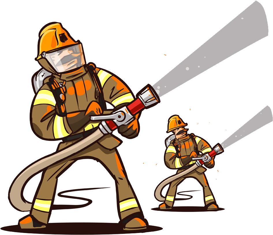 Two firefighters with hosepipes