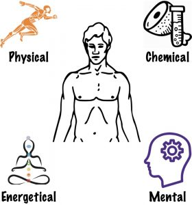 Physical, chemical, energetical, mental aspects of the body